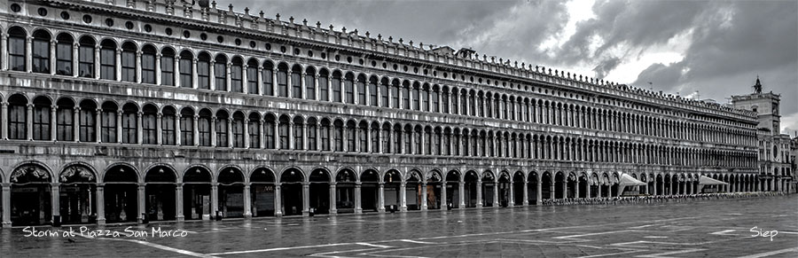 storm at piazza san marco pano